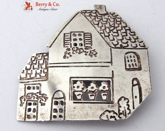 Figural House Brooch Sterling Silver