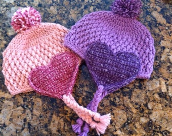 Valentine's Heart Earflap Crochet Hat with Pom Pom