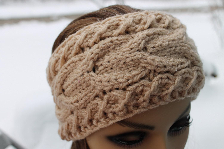 Handmade chunky cable knit Headband Ear warmer Hat Ivory