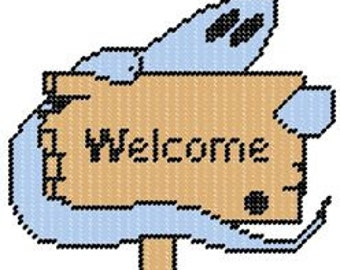 Ghost Plastic Canvas Welcome Sign Pattern
