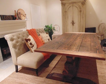 Dining Table Farmhouse Trestle Reclaimed Wood Custom