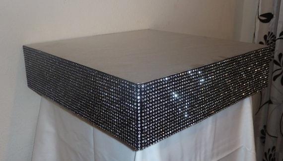 Square Black Silver Faux Rhinestone Wedding Cake Stand