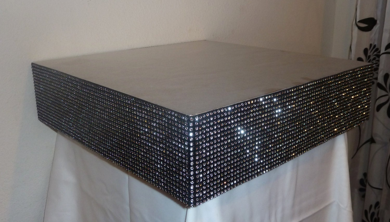 Square Black Silver Faux Rhinestone Wedding Cake Stand