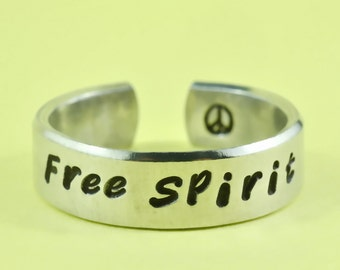 Free Spirit - Flat Cuff  Ring, Hand Stamped Aluminum Ring, Best Gift Ring
