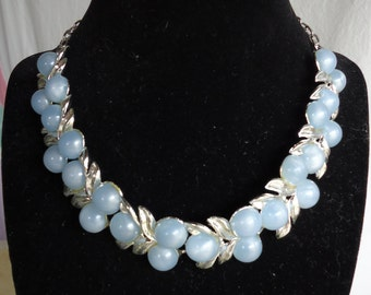 Vintage 1950's Blue Moonglow Choker Necklace