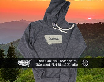 Tri Blend Pull Over Hoodie Montana Home Sweatshirt