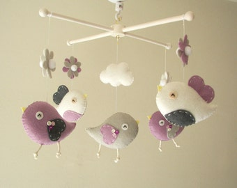 "Baby crib mobile, Bird mobile, felt mobile, nursery mobile, baby mobile,""Bird - Lavender, Gray, White"""