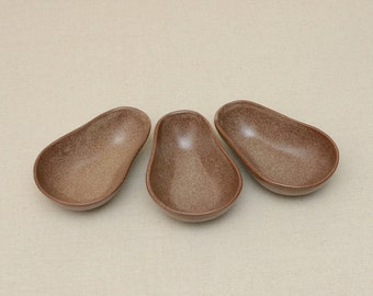 3 Avocado Shape Serving Dip Bowls Gres Ironstone Ceramic