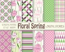 "Floral Digital Paper: ""FLORAL SPRING"" Floral Pink Purple Green Geometric Digital Scrapbook Paper Pack for invites, cards - Buy 2 Get 1 Free"