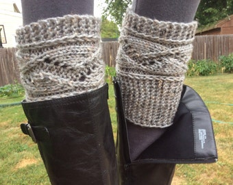Boot Cuffs in Grey Marble Color , Boot warmers ,  Knitted Boot Toppers, Women's leg warmers, or Select Color