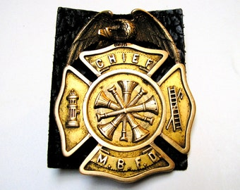 ON SALE 14K Chief Engineer Badge: 1920 Monmouth Beach, NJ Fire Department w/ Case