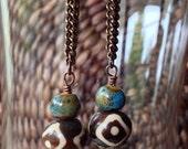 African bead earrings, African earrings, bone, bead and chain earrings, batik earrings, ethnic earrings, tribal earrings,african jewelry