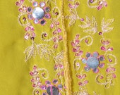 Indian vintage dupatta accessories sewing supplies Georgette fabric hijab home decor long scarf  greenish yellow embroidery mirror work