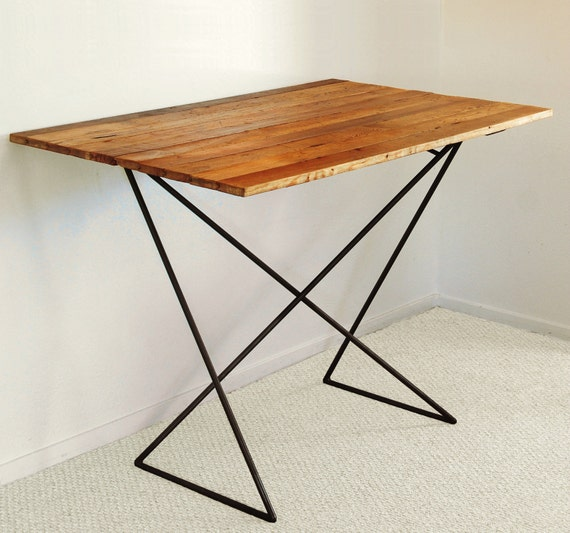 Counter Height Reclaimed Wood Table : Wood and Steel Bar Table - Geometric Continuous Line - Counter Height ...