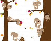 Fall Squirrels - Cute Clipart Set - Commercial and Personal Use. Scrapbooking, Invitations, Card Design and more.