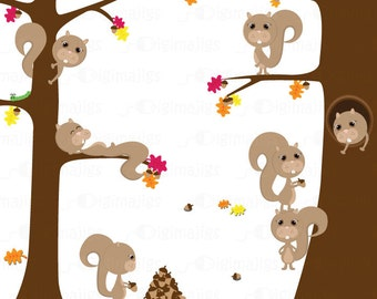 Squirrel in Tree Clip Art