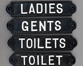 Toilet Door Signs Cast Metal -  Toilets, Ladies & Gents Mens Womens WC Antique Style Railway Cast Iron Style Bathroom Signs