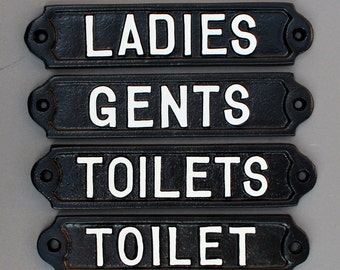 Antique Style Toilet Door Signs Cast Metal   Toilets, Ladies U0026 Gents Mens  Womens WC