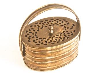 Vintage Brass Potpourri Box Basket - Made in India