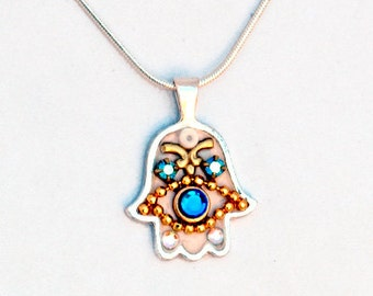 Hamsa Necklace by Ester Shahaf, Sterling silver 925