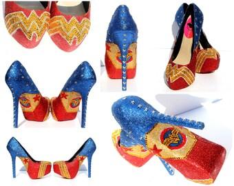 Wonderwoman Heels with Swarovski Crystals and Glitter