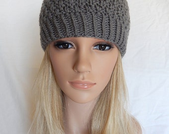 Knit Hat Beanie Handmade...Pewter Gray 1  (Ready to Ship)