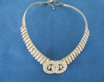 Vintage Fancy Clear Rhinestone Wire Choker Vintage Necklace Vintage Costume Jewelry Rhinestone Jewelry Vintage Necklace Vintage Jewelry