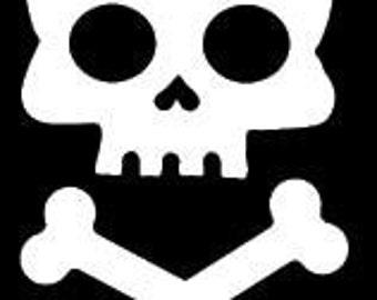 "SKULL and CROSS BONES 5"" Vinyl Decal Window Sticker for Car, Truck, Motorcycle, Laptop, Ipad, Window, Wall, Etc."