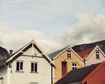 ROOFTOPS photography print, Norway travel art, 8x12