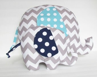 Grey Chevron and Aqua Polka Dot Stuffed Giant Elephant Baby Toy Pillow, Nursery Pillow Decor, Photography Prop