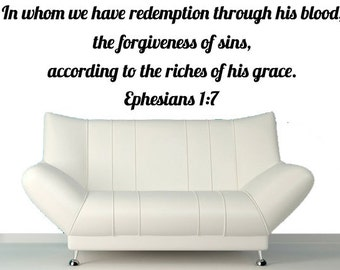 Bible Stickers - Ephesians 1:7 - In Whom We Have Redemption Through His Blood - Christian Gift Wall Sticker