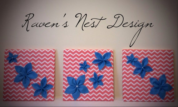 Felt Flowers Wall Decor : Sale blue coral chevron flower wall decor felt