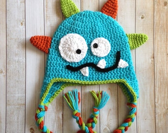 Crochet Monster Hat, Photography Prop - made to order