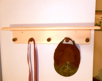 WOODEN COAT RACK with shelf. Made with clear pine,available in any size or color