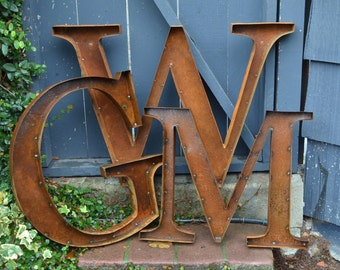 Large Metal Letters For Wall rustic metal letters | etsy