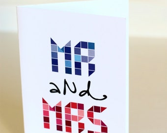 Mr and Mrs blank greeting card