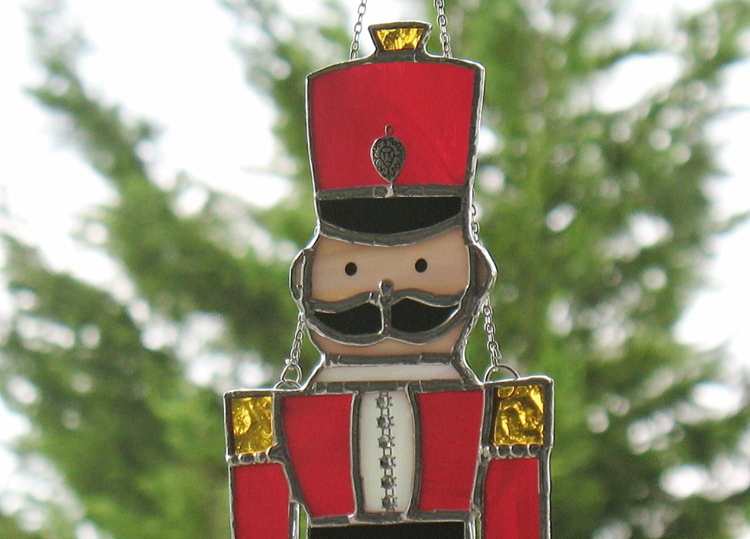Stained Glass Toy Soldier Nutcracker In Red Military Decor