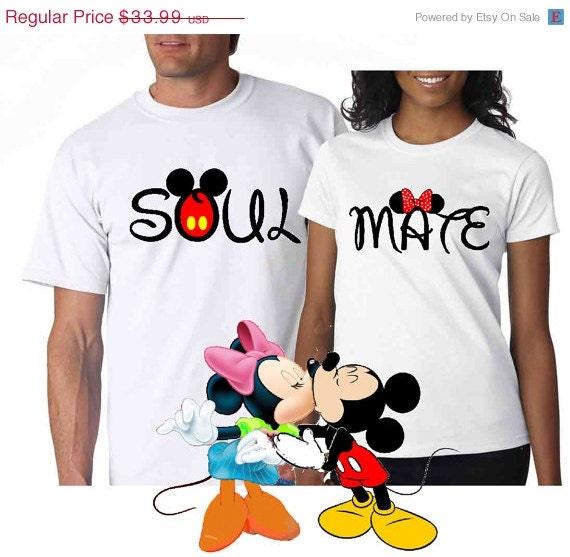 Soul Mate Couple Disney Mickey Minnie  Mine  matching T shirtsDisney Soul Mate Shirts