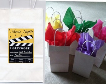 Movie Night party favor goody bags personalized set of 10