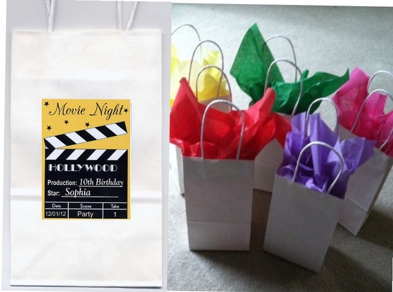 Movie night party favor goody bags personalized set of