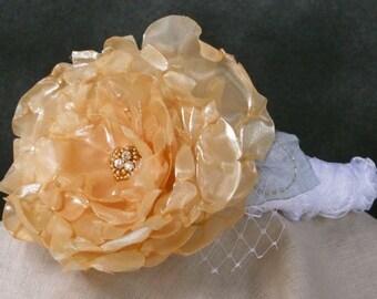Brides headband, padded white satin, gold handmade silk flower, rhinestones, rosetta ribbon, bridesmaid, mother of the bride.