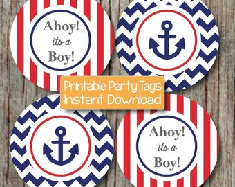 Nautical Baby Shower Decoration Red Navy Blue Ahoy Its a Boy Anchor diy Digital Printable INSTANT DOWNLOAD 219