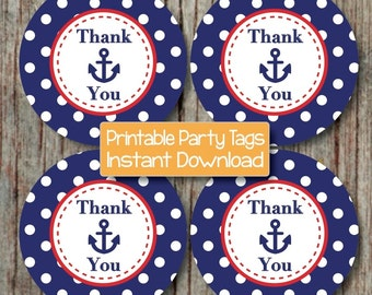 Nautical Thank You Tags Baby Shower Birthday Party Decoration Printable Favor Tags Labels Navy Blue Red Instant Download - 222