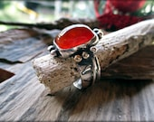 Carnelian Ring, Textured Silver Ring, Handmade Ring