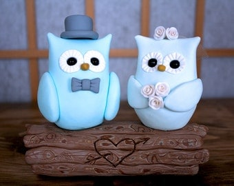 Bride and Groom Owl Wedding Cake Toppers // With Top Hat & Veil // Ready To Go