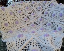 Crochet PATTERN Baby Blanket / Lilac Daisy/ Tutorial Instant Download /SYmbols Stitch/ PATTERN 805/ Permission to sell finished items.