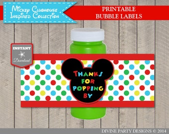 INSTANT DOWNLOAD Mouse Clubhouse Printable Party Bubble Labels / Clubhouse Collection / Item #1637