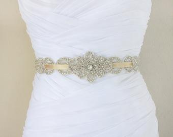 MARIANNE - Vintage Inspired Bridal Beaded Belt, Wedding Rhinestone Sash, Bridal Crystal Belts, Champagne Bead Sashes