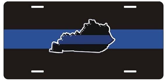 Thin blue line kentucky state metal license plate sku tblplt ky