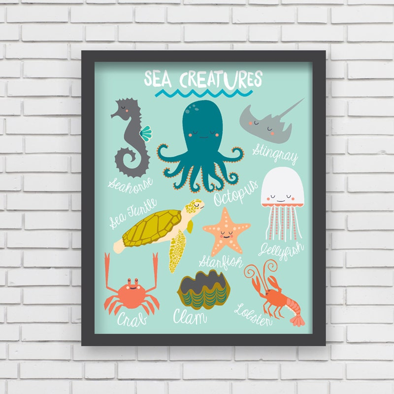 Nautical Home Decor Nautical Nursery Wall Art Sea Creatures
